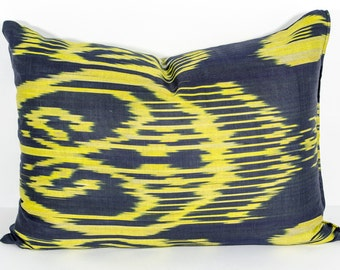 20x14 yellow lumbar ikat pillow cover, yellow ikat pillow, yellow cushion, yellow black ikat, throw pillow, accent pillow, decorative