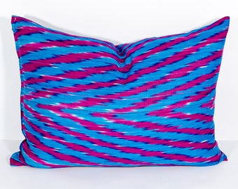 20 x14 zig zag ikat pillow cover, blue ikat pillow cover, chevron ikat, pillows, ikats, blue red, blue red pillows, cushion, ikat throw