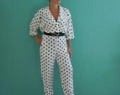 vintage 80's black and white polka dot jumper