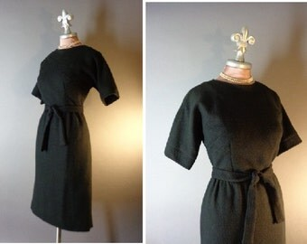 50s dress 1950s vintage BLACK WOOL KIMONO inspired hourglass detailed curvy dress new old stock