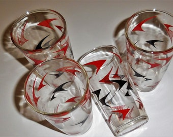 Hazel Atlas Boomerang Set of 4 Vintage Drinking Glasses - 1950's - Gay Fad Retro Tumblers