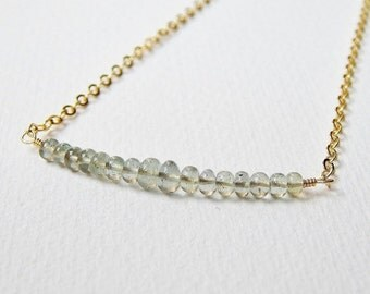 Moss Aquamarine Bar Necklace - Gold Filled Beaded Necklace Beadwork Necklace Line Necklace