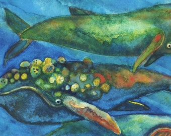 Original Watercolor - Whale Pyramid #4 - Grey Humpback Blue Sperm Narwhal - Watercolor Whales