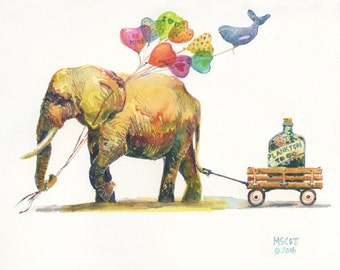 Original Watercolor - 9x11 inches - Edward the Elephant and his Valentine gifts - Day 41 of 366 paintings