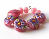 Pink & Purple Floral Lampwork Bead Set, SRA Glass Flower Beads