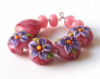 Pink Flower Beads, Lampwork Artisan Glass Floral Bead Set