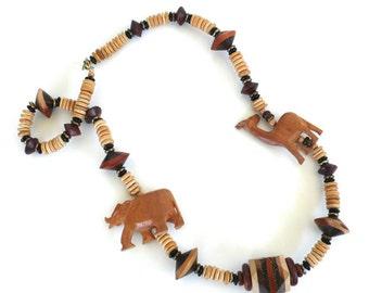 Vintage Wood Animal Necklace