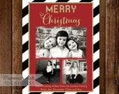3 Photo Holiday Card, Photo Christmas Card, Faux Gold Foil Photo Card, Black and White Stripe Card, Black White and Gold Holiday Card, Red