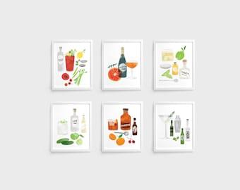 Cocktails Prints - Set of 6 (8 x 10)