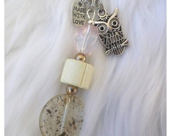 Owl Jewelry /Beaded Zipper Pull /gifts with white beads/ birthday graduation Mothers Day/ animal lover gift, RTS Item # CJF22-1043