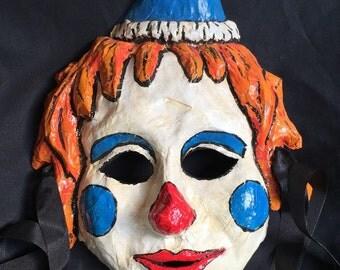 Clown paper mache mask