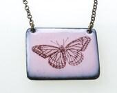 Butterfly Necklace. Butterfly on Pink Enamel Pendant on Brass Chain Necklace. Vitreous Enamel Jewelry