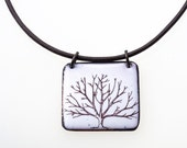 Tree Necklace. Winter Tree on Snowy White Enamel Necklace on Adjustable Leather. Vitreous Enamel Jewelry.
