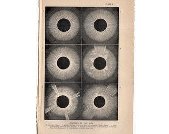 1872 SOLAR ECLIPSE print original antique celestial astronomy lithograph