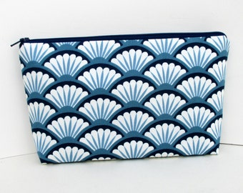 Zippered Make Up Bag, Cosmertic Pouch, Navy Blue Mermaid Scales, Scallop Shells, Fan Dance