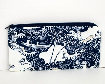 Tsunami Waves, Pencil Pouch, Indigo Blue Zippered bag
