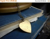 Rustic Brass Heart Necklace. will stamp name or date on pendant