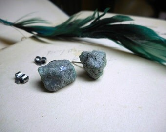 Twilight Meadow. Genuine huge Emerald Raw Rough Specimens & titanium post earrings. Ear studs. simple green stones specimens