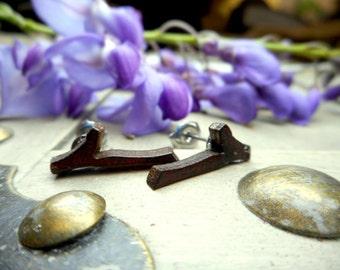 Petite Branch Earrings. Laser cut wooden dark stainedsmall tree branch & titanium post stud earrings