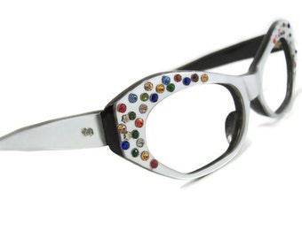 Vintage 1960s Multi Colored Big Lens Eyeglasses Eyewear Frame France NOS