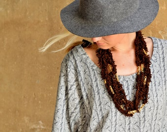 NEW! Fabric and metal recycle boho-chic brown and gold necklace