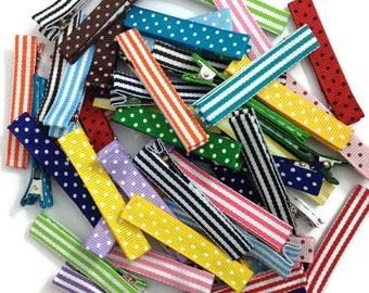 "50 - LARGE - Single Prong - Partially or Fully Lined 2.25"" Alligator Clips - No Slip Large Lined Hair Clips - Made To Order"