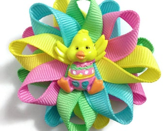 """Pink, Blue, Yellow, Green Easter Chick 2.5"""" Hair Bow Set - Handmade - No Slip Clip or Barrette - Made To Order"""