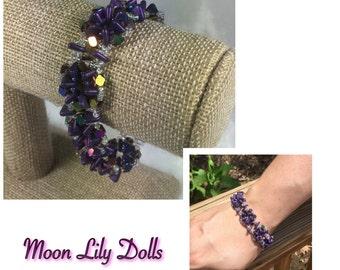 Beaded Bracelet - Purple & Crystals