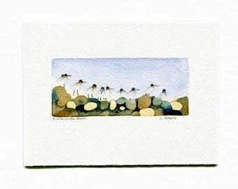 Bird Watercolor Dunlin on the Beach Original Art Card