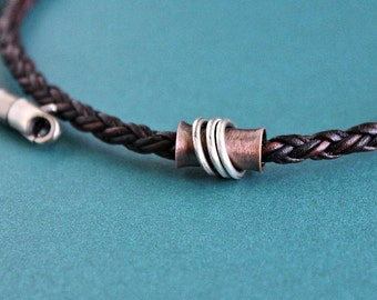 Mens Copper Tube Necklace, Mens Leather Necklace, Brown Braid