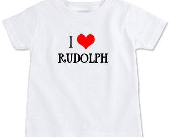 I Heart Rudolph Cotton Christmas Toddler T-shirt