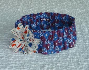 "Stars and Swirls Dog Scrunchie Collar with dotted twirl flower - Size XXL:  20"" to 22"" neck"