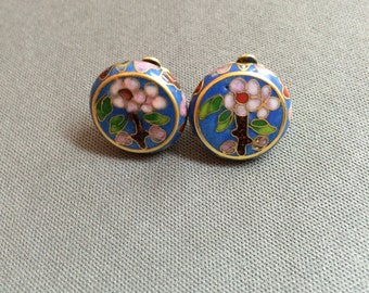 Dutch blue and pink floral cloissone clip on earrings