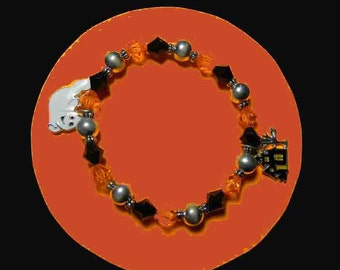 Fall Bracelet With Ghost Charm and Haunted House Charm. Stretchy - Zip it on and off. 4815