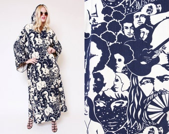Vtg 70s Dope Extremely RARE Psychedelic Denim Hooded Caftan Cape Face Mona Lisa Hippie Boho WOODSTOCK Wizard Cloak O/S