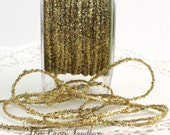 "Gold Glitter String, 1/8"" wide, Ribbon by the yard, Gift Wrapping, Christmas Ribbon, Gold Trim, Weddings, Invitations, Party Supplies"