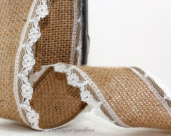"Wired Natural Burlap Ribbon/Lace Trim, 1.5"" wide, Lace Trimmed Burlap, Wreaths, Gift Wrapping, Rustic Wedding, Party Supplies"