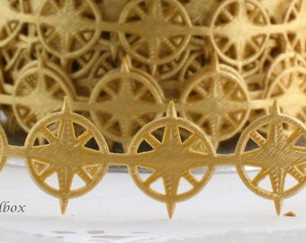 """Gold Nautical Compass Ribbon 3/4"""" wide by the yard, Nautical Weddings, Nautical Trim, Sewing, Gold Trim, Invitations,Party Supplies"""