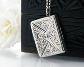 Antique Sterling Silver Locket | Edwardian Silver Envelope | Love Token | English Sterling Silver Stamp Case - 20 Inch Long Chain Included