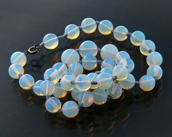 Antique Necklace   Opaline Glass Bead Necklace   Hand Knotted Opalite or Opaline  Beads   Vintage Color Change Necklace - 21 Inches Long