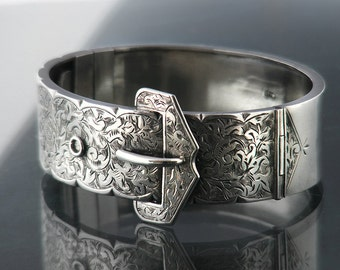 1882 Victorian Buckle Bracelet | Antique Sterling Silver Bracelet | Hinged Silver Cuff | English Silver Hallmark | Belt Buckle Silver Bangle