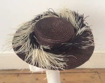 Vintage 1950s Brown Straw Hat Fancy Ostrich Feather Decoration
