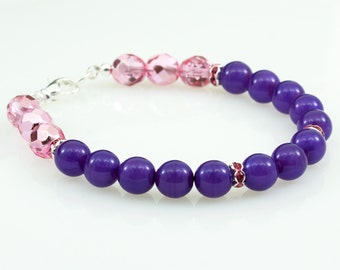 Simple Layering Bracelet, Beaded Bracelet Purple and Bubblegum Pink, Casual Jewelry, Christmas Gift for Women, For Small or Large Wrist