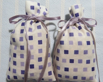"White 3""X2"" Sachet-'Diamonds and Sapphires'(type) Fragrance-Violet and Antique White Sachets-Violet Ribbon-Herbal Sachets-Cindy's Loft-298"