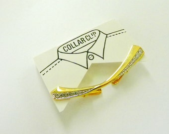 Collar Bar Clip. Gold Tone with Rhinestones. Blouse or Shirt Guard. New on Card.