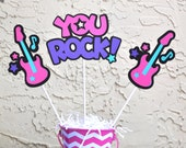 Rockstar Guitar Centerpieces set of 4, GIRL themed  COLORS pink, purple, turquoise, black