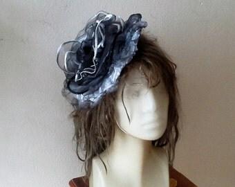 Organza Grey Huge Flower Hair Fascinator/ Gray Fabric Rose Belt Large Bloom Brooch/ Wedding accessories