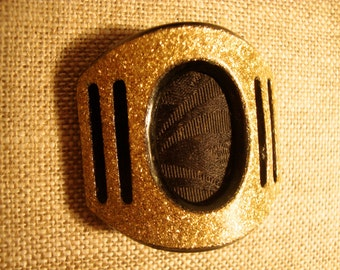 Unusual Pair of 1930's Costume Details: Smooth Gold Glitter Resin Finish and Black , Space Age Modern , Egyptian Renaissance