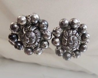 FALL SALE Vintage Gunmetal Gray and Textured Silver Beaded Earrings.  Western Germany.