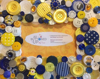 MINION Button Frame in Blue Yellow and White ~ Frame for Child ~ Gift for Child ~ Cartoon Frame ~ Birthday Gift ~ Nursery Decor ~ 4x6 photo